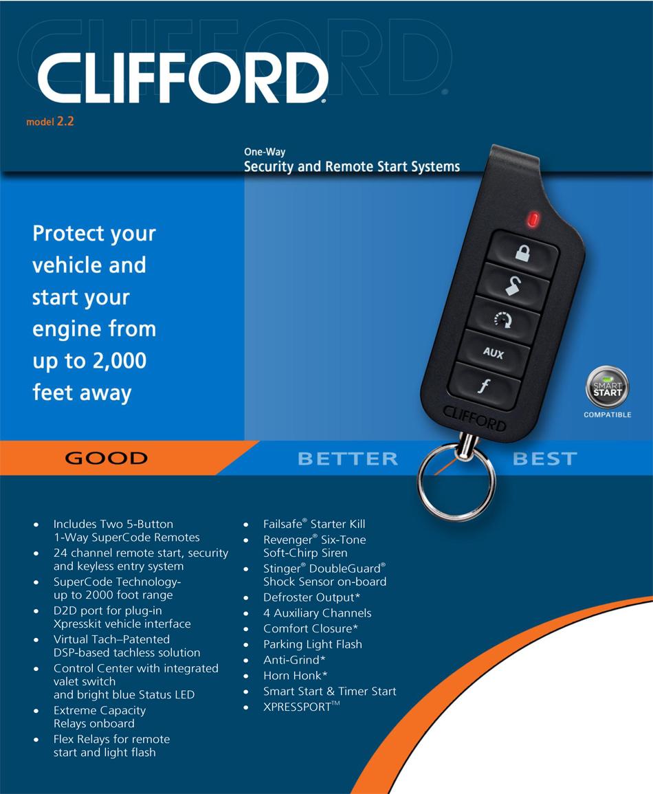 Clifford 2.2 matrix car alarm with remote engine start